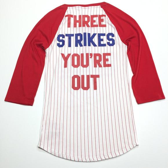 VICTORIAS SECRET PINK BLING MLB PHILADELPHIA PHILLIES VNECK JERSEY TEESHIRT NWT